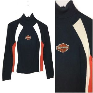 Harley Davidson Turtleneck Sweater Patch Spellout